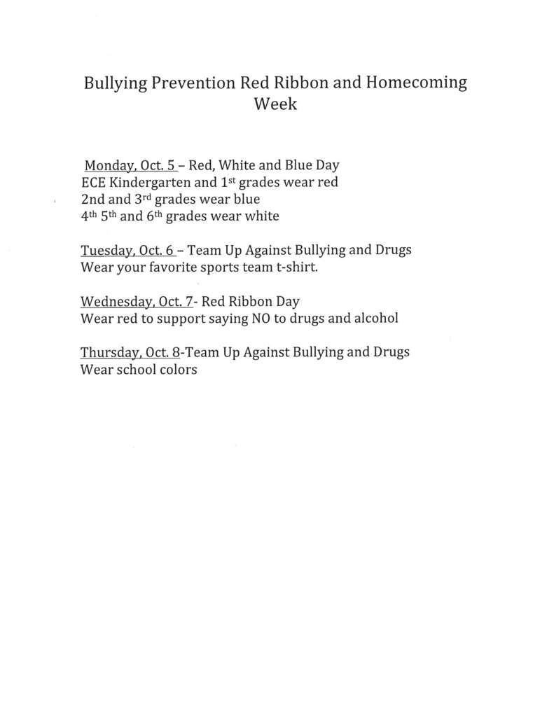 Red Ribbon Week and Spirit Week