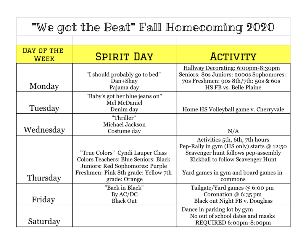 Fall Homecoming 2020 schedule