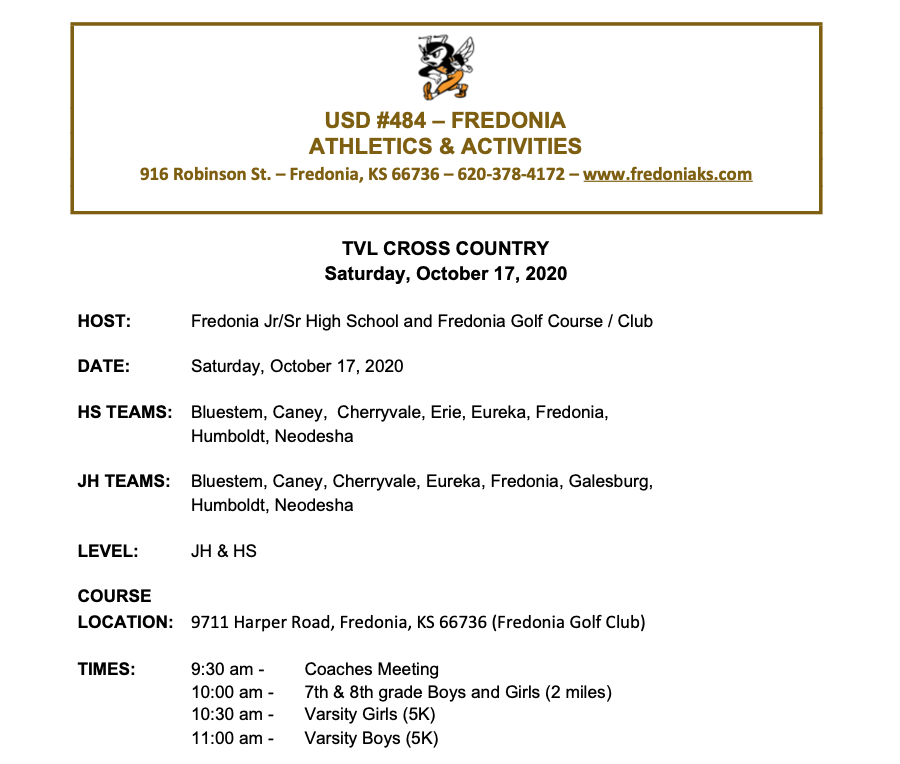 League Cross Country Meet Info