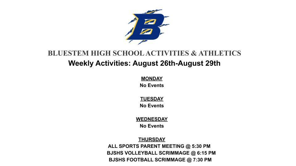 BJSHS Weekly ACTIVTIES