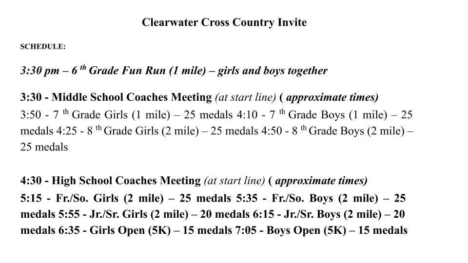 Cross Country Meet Info