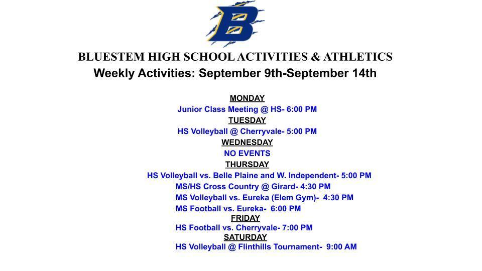 BJSHS WEEKLY EVENTS