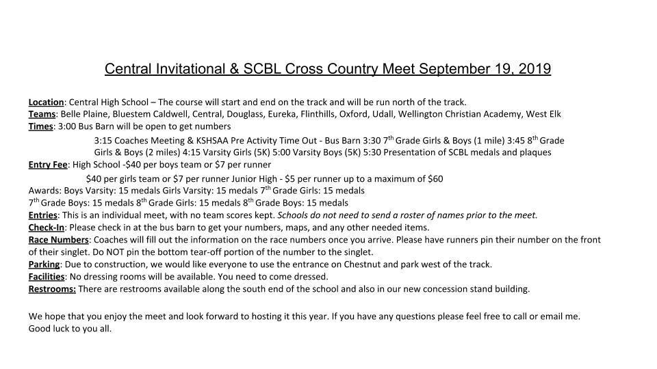 9/19/2019 Cross Country Info
