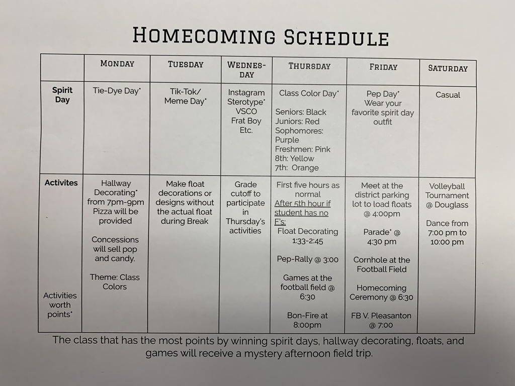 HOMECOMING EVENTS SCHEDULE