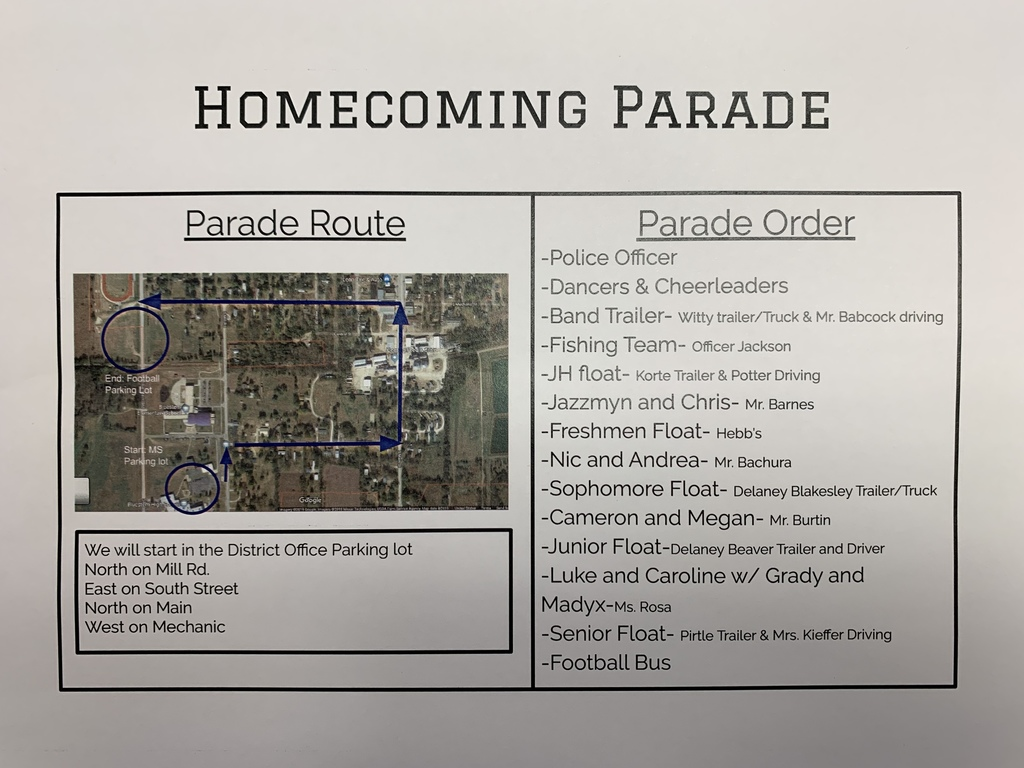 FRIDAY'S HOMECOMING PARADE INFO