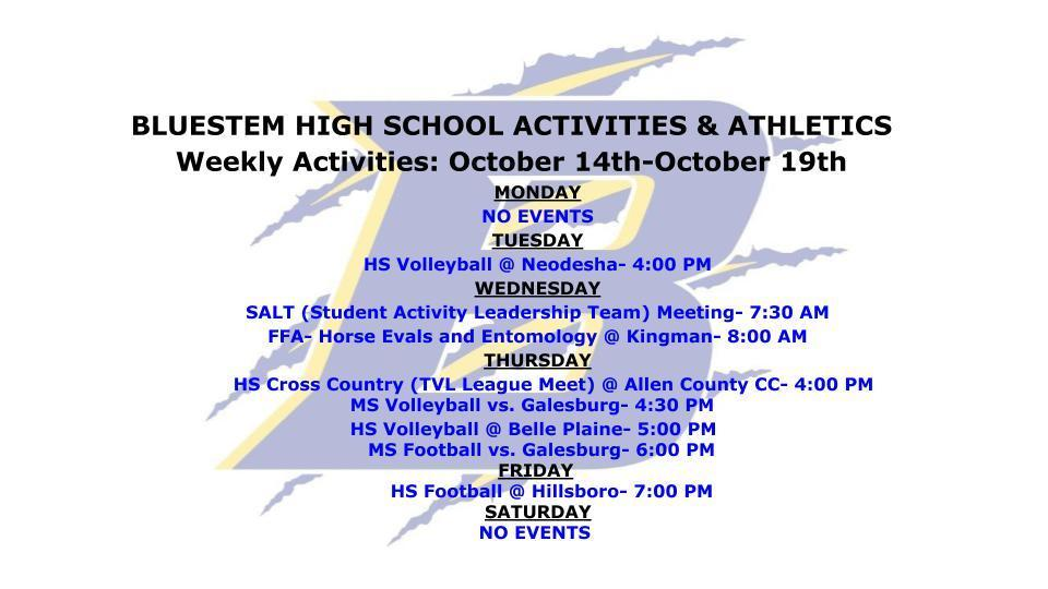 UPDATED WEEKLY ACTIVITIES