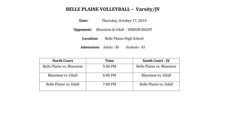 Belle Plaine Volleyball Tri Info