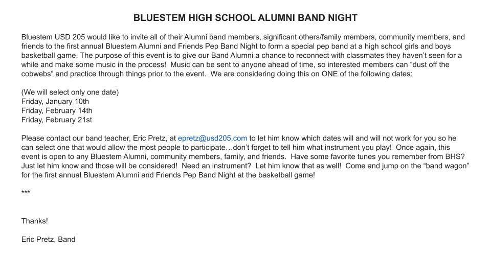 BJSHS ALUMNI BAND NIGHT