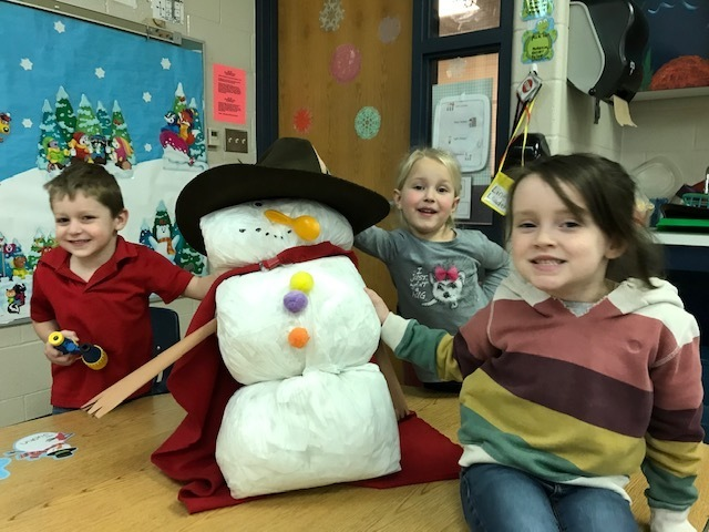 Do you want to build a snowman?  (We recycled our left over toilet paper scraps and made a snowman with it.)