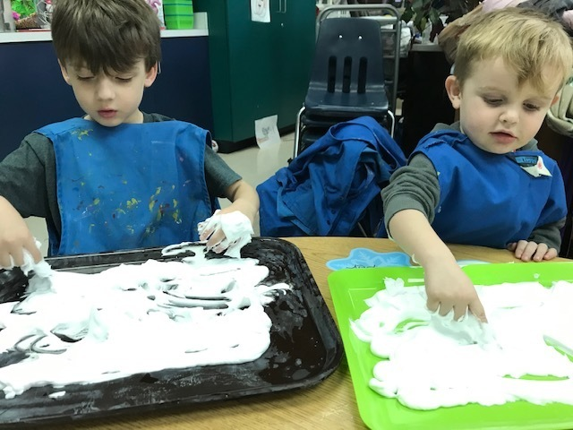 "Writing our names in shaving cream ""snow."""