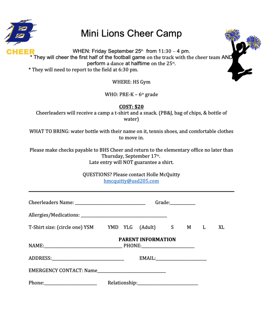 Mini Lions Cheer Camp