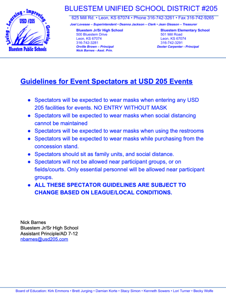 USD 205 SPECTATOR GUIDELINES